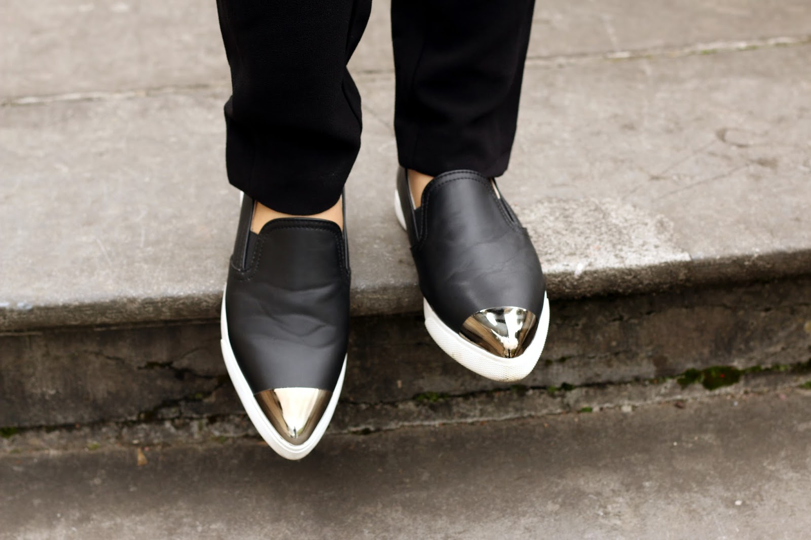 Leather Metallic-Toe Slip-Ons